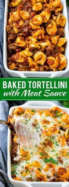 Baked Tortellin with Meat Sauce Recipe Cheese Tortellini Tortellini Recipe Baked Pasta Recipe Baked Tortellini Recipes, Tortellini Bake, Baked Cheese Tortellini, Baked Pasta Dishes, Meat Sauce Recipes, Beef Recipes, Healthy Recipes, Recipes With Cheese Sauce, Recipes With Marinara Sauce