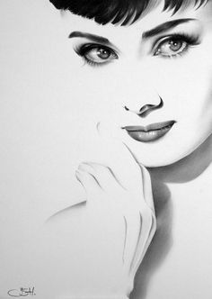 Audrey Hepburn Fine Art Print Bleistift Zeichnung Portrait