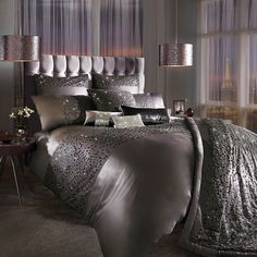 Eva Satin Duvet Cover by Kylie Minogue at Home in Mauve or Oyster