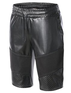 Machine Wash Cold%0AHang Dry / Do Not Tumble Dry%0A#AMBMP04 - PU Faux Leather Short w/ Mesh Trim / #AMBMP01 - Croc Embossed PU Leather / #AMBMP02 - French Terry Short w/ PU Trim