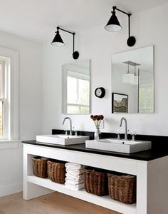 Looking for bathroom storage ideas? Bathroom storage is key to a successful bathroom makeover. Take a look at these bathroom storage hacks Bathroom Renos, Laundry In Bathroom, White Bathroom, Bathroom Ideas, Master Bathroom, Simple Bathroom, Bathroom Designs, Bathroom Storage, Remodel Bathroom