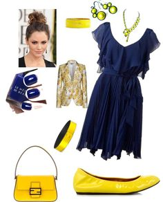"""""""Gold on Blue"""" by theranna ❤ liked on Polyvore"""