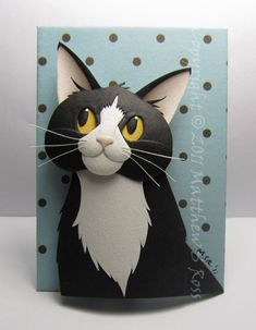 TUXEDO CAT Portrait Paper Sculpture ACEO by by PaperMatthew, $50.00.  I miss Picasso, my tuxedo cat.