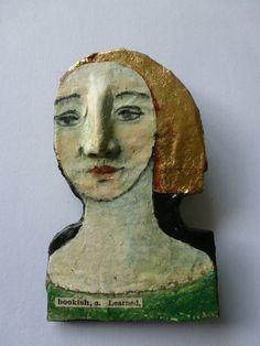 One of a kind papier mache brooch/ornament