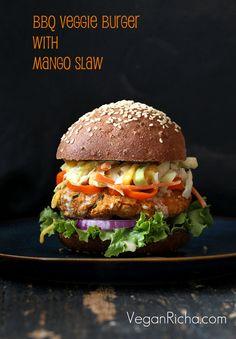 BBQ Lentil Veggie Burger with Mango Carrot Slaw. Vegan Recipe - Vegan Richa