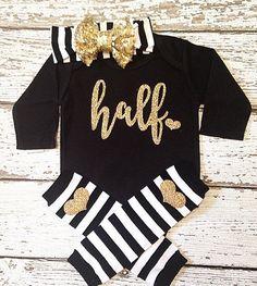 Baby girl clothing Half Birthday bodysuit by AdornedBabyBoutique