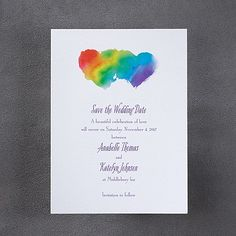 Rainbow Wrap Save the Date.  Rainbow colors inside two hearts are shown on this save the date.