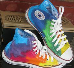 Men sz 7.5 Rainbow Wrap Hand Dyed Converse Sneakers Hi Top Women sz 9.5