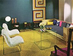 70s living room with shag pile chairs and perspex coffee table, Practical Encylopedia of Good Decorating and Home Improvement, 1970