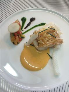 尼鯛の鱗焼き 夏野菜のラタトゥイユ ウニのサバイヨンソース