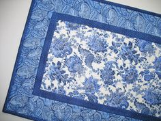 Floral Table Runner in gorgeous blues, elegant, paislies, quilted,  fabric from Northcott and Timeless Treasures