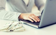 Download wallpapers mountain of money, dollars, e-commerce concepts, laptop, money from the network, earnings concepts, 4k