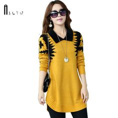8bf55b77ef ASLTW Women s sweater Dress 2018 New Fashion casual Long Pullover Slim Sweater  Long sleeve lapel Sweater