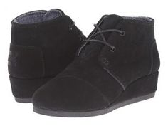 TOMS Kids Desert Wedge Bootie (Little Kid/Big Kid) (Black Suede) Kids Shoes