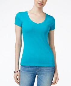 TOMMY HILFIGER Tommy Hilfiger V-Neck T-Shirt, Only At Macy'S. #tommyhilfiger #cloth # tops
