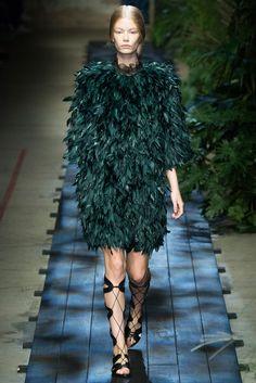 Spring 2015 Ready-to-Wear - Erdem -- Big fluffy bird feather coat in parakeet green. Website glitch coat.