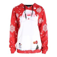 Merry Christmas Women Santa Claus Tops Hooded Sweatshirt Pullover