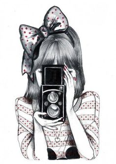 Girl Taking Picture with Camera Drawing Art (1).