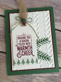 by Kristin: Wrapped in Warmth, Warmth & Cheer dsp stack & washi tape, Cable Knit embossing folder, Pretty Pines Thinlits, Mini Pinecones - all from Stampin' Up! Christmas Cards 2018, Homemade Christmas Cards, Christmas Paper, Xmas Cards, Homemade Cards, Handmade Christmas, Holiday Cards, Christmas 2016, Theme Noel