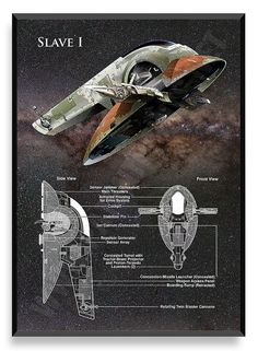 Slave I Poster Star Wars Ship Star Wars by PatentPrintsPosters