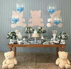 Baby Shower Ideas For Boys Teddy Bear Party, Teddy Bear Baby Shower, Baby Boy Shower, Baby Shower Balloons, Baby Shower Themes, Shower Ideas, Decoracion Baby Shower Niña, Baby Boy Decorations, Baby Prince