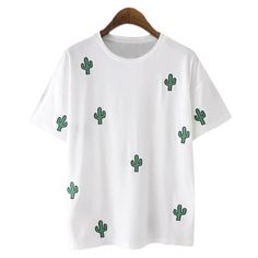 f872e1762d0fa White Cactus Embroidery Casual T-shirt (530 MXN) ❤ liked on Polyvore  featuring