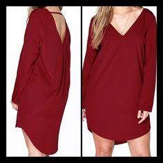 """💥Gorgeous Open-V-Back Cabernet High/Low Dress💥 Beautiful Cabernet Colored Flowing High-Low Dress. Polyester-100% Bust-46"""" Hip-48"""" Sleeve Length (from armpit)-17"""" Front Length-36"""" Back Length-40"""" Dresses"""