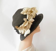 1920s cloche hat, black flapper Great Gatsby Downton Abbey, Large by TheVintageHatShop on Etsy https://www.etsy.com/listing/213519856/1920s-cloche-hat-black-flapper-great