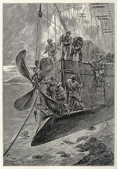 While they were busy in the bow | Illustration by Léon Benett, engraved by J. Ladmiral. From The clipper of the clouds (AKA Robur the Conqueror), by Jules Verne, London, 1887 | via Contentimus