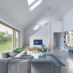 Ekonomiczny 1B - wizualizacja 3 - Mały tani w budowie dom z antresolą