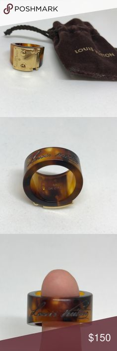 "Louis Vuitton Ring size 6.5 Louis Vuitton ""Tortoise Resin Lock Me Ring"" size 6.5. Great condition, barely worn. Resin with metal S-Lock & hand written Louis Vuitton signature. Date/Authenticity Code: GA 0152   Retail $340 Louis Vuitton Jewelry Rings"