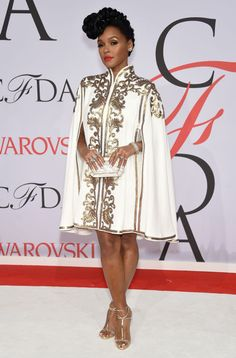 Janelle Monae in Tadashi Shoji at the 2015 CFDA Fashion Awards. See all the looks from the night.