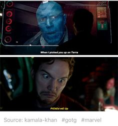 Guardians of the Galaxy, gotg, Peter Quill, Starlord, Yondu Udonta Avengers Humor, Avengers Movies, Marvel Actors, Marvel Funny, Marvel Memes, Marvel Dc Comics, Marvel Avengers, Baby Avengers, Avengers Cast