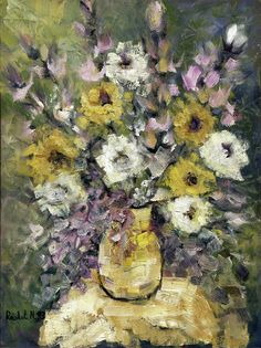 Impression Of Flowers Bouquet Yellow Vase On White Table Purple ...