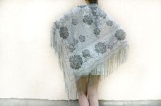 Bridal Lace Shawl lace shawl Metallic Lace Shawl Boho by bestLuba.  This is a nice size, silver grey shawl.  If you like roses, this one is for you!!