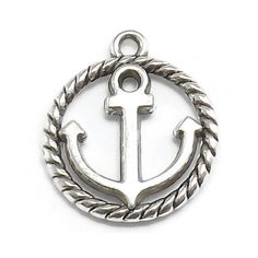 6 Anchor with Rope Circle Charms silver by OliviaMadisonCompany (Craft Supplies & Tools, Jewelry & Beading Supplies, Charms, charm, silver charms, metal charms, charm bracelet, antique silvertone, olivia madison, anchor charm, nautical charm, boating charm, sailboat charm, sailing charm, yachting charm, silver anchor charm)