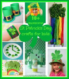 Collection of St Patrick's day crafts for kids. Find out how to make leprechaun hats and various shamrocks crafts.