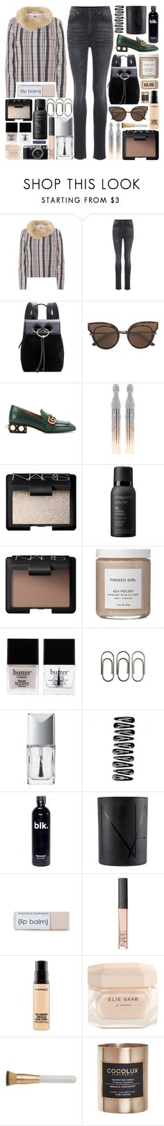 """So, if you loved me, how was I supposed to know?"" by pure-and-valuable ❤ liked on Polyvore featuring Shrimps, Yves Saint Laurent, J.W. Anderson, Bottega Veneta, Gucci, Oscar de la Renta, NARS Cosmetics, Living Proof, French Girl and Butter London"