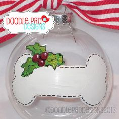 Items similar to Hand painted Dog Bone Ornament - Personalized free on Etsy Christmas Crafts To Make, Homemade Christmas, Christmas Art, Christmas Projects, Holiday Crafts, Christmas Bulbs, Christmas Things, Christmas Paintings, Holiday Decor