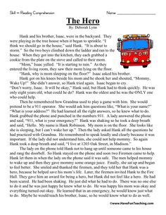 The Hero – Second Grade Reading Comprehension Test: Use the information in the story to answer the 5 comprehension questions. Answer Key Is Included. Test Type: Realistic Fiction Story Grade Level: Second Grade The Hero 2nd Grade Reading Comprehension, Third Grade Reading, Reading Fluency, Reading Passages, Second Grade, Reading Stories, Grade 2, Kids Reading, Teaching Reading