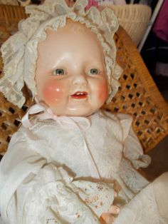Horsman antique composition BABY DIMPLES DOLL - a beautiful happy baby !