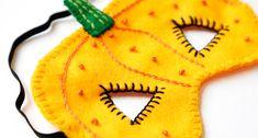 How to Make a Felt Pumpkin Mask #felt #pumpkin #mask #dmc #embroidery #easy #kids #halloween #project #sewing