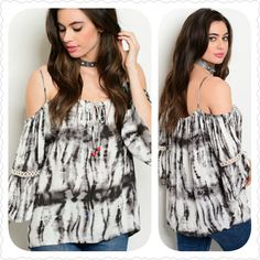 ❤ONLY 2 LEFT IN STOCK❤ CHARCOAL WHITE #COLDSHOULDER #TIEDYE #TOP http://randomfindsboutique.com/products/charcoal-white-cold-shoulder-tie-dye-top #randomfindsboutiquecom
