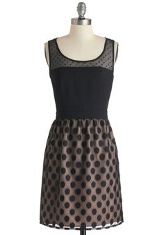 Shadow of a Dot Dress - Black, Tan / Cream, Polka Dots, Party, A-line, Mid-length, Tank top (2 thick straps), Sheer