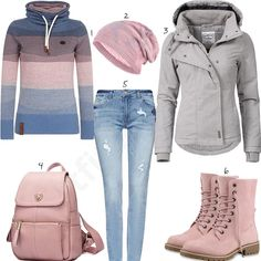 Komplette Outfits, Warm Outfits, Casual Winter Outfits, Winter Fashion Outfits, Pretty Outfits, Blush Pink Outfit, Business Outfit Damen, Cozy Fashion, Mode Style