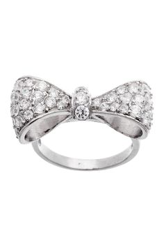 Sterling Silver Pave CZ Bow Ring but I want it in real diamonds please