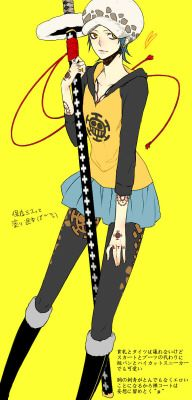 Genderbend swap switch female fem Trafalgar D. Water Law One piece Lawko yellow