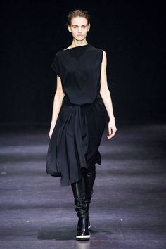 Ann Demeulemeester F/W 2014 black draped asymmetrical