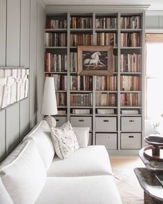 Mandi Johnson (@mandimakes) • Instagram photos and videos Wall Shelving Units, Under Stairs Cupboard, Custom Sofa, Home Libraries, Living Room White, Big Houses, Sofa Covers, Home Projects, Bookshelves