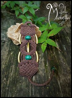 Brown ethnic organic Macrame Bracelet. handmade tribal jewerly.Natural malachite gemstones